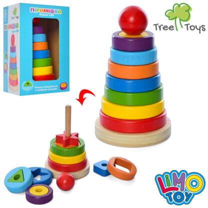 Деревянная игрушка пирамидка кольца 7шт